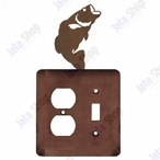 Bass Fish Double Metal Outlet Cover with Single Toggle