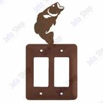 Bass Fish Double Rocker Metal Switch Plate Cover