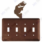 Bass Fish Quad Toggle Metal Switch Plate Cover