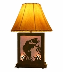 Bass Fish Scenic Metal Table Lamp with Night Light