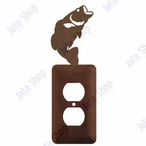 Bass Fish Single Metal Outlet Cover