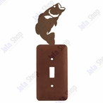 Bass Fish Single Toggle Metal Switch Plate Cover