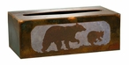 Bear and Cub Metal Flat Tissue Box Cover
