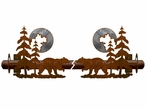 Burnished Bear and Pine Trees Metal Curtain Rod Holders