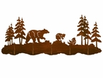 Bear Family and Pine Trees Scenic Five Hook Metal Wall Coat Rack