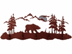 Burnished Bear Scene Five Hook Metal Wall Coat Rack