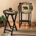 Bear Silhouette Tray Tables with Stand, Set of 2