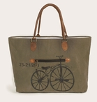 Bicycle Stonewashed Canvas and Soft Leather Tote Bag