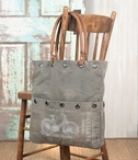 Bicycleta Stonewashed Canvas and Leather Tote Bag with Brass Elements