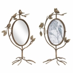 Bird & Owl Metal Swivel Combo Mirror & Photo Frames, Set of 2
