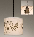 Birds on a Wire Canvas Pendant Lamp Light