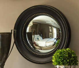 Black and Gold Colonial Convex Wall Mirror
