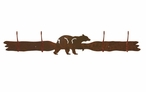 Black Bear Four Hook Metal Wall Coat Rack