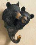 Black Bear Pair Hand Painted Sculpted Single Wall Hooks, Set of 3