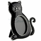Black Cat with Curled Tail Photo Frame, Set of 2