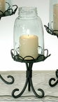 Black Midget Pint Mason Jar Chimney with Stand Pillar Candle Holder