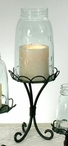 Black Quart Size Mason Jar Chimney with Stand Pillar Candle Holder