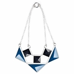 Blue and Black Collier Crystal and Silver Necklace By Mats Jonasson