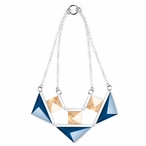 Blue and Gold Collier Crystal and Silver Necklace By Mats Jonasson