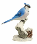 Blue Jay Perching on a Branch with a Pinecone Bird Sculpture