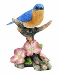 Bluebird Perching on a Branch with Flowers Bird Sculpture
