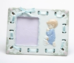 Boy with His Dog Praying Porcelain Picture Frame