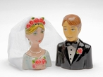 Bride and Groom Ceramic Salt and Pepper Shakers by Babs, Set of 4