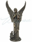 Bronze Angel Holding Cross and Book with Hare at the Side Sculpture