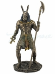 Bronze Anubis Holding Ankh and Scepter Sculpture