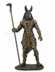 Bronze Anubis Holding Cobra Head Scepter Sculpture