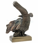 Bronze Bald Eagle Bird Flying with the American Flag Sculpture