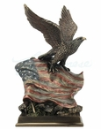 Bronze Bald Eagle Bird with American Flag Sculpture