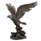 Bronze Bald Eagle Catching a Fish Sculpture