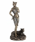 Bronze Bastet with Panther Egyptian Sculpture