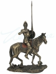 Bronze Don Quixote Wearing Full Armor with Lance and Shield Sculpture