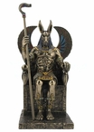 Bronze Egyptian God Anubis Sitting in His Throne Sculpture
