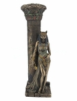 Bronze Egyptian Goddess Bastet Leaning on a Pillar Candle Holder