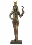 Bronze Egyptian Goddess Hathor Holding a Snake Sculpture