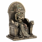 Bronze Egyptian Queen Nefertari Sitting in Her Throne Sculpture