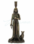 Bronze Egyptian Queen Nefertari with Cat Sculpture