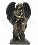 Bronze Guardian Angel Sitting and Holding a Little Girl Sculpture