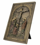 Bronze Iconic Style Calvary Wall Plaque with Stand