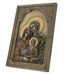 Bronze Iconic Style Holy Family Wall Plaque with Stand
