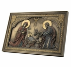 Bronze Iconic Style Nativity Scene Wall Plaque with Stand