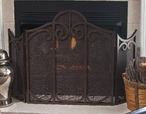 Bronze Iron Mesh Scroll Fireplace Screen