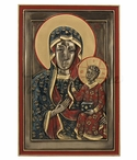 Bronze Our Lady of Czestochowa Wall Plaque with Stand