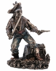 Bronze Pirate with Cutlass & Pistol Guarding Treasure Chest Sculpture