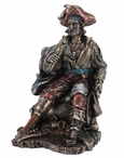 Bronze Pirate Captain with Wooden Leg Sitting on a Barrel Sculpture
