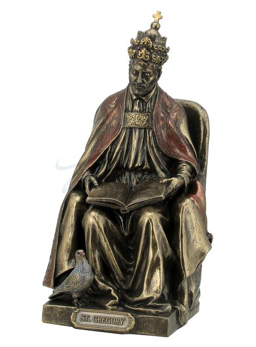 Bronze St. Gregory the Great Religious Sculpture