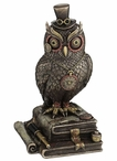 Bronze Steampunk Owl Bird with Top Hat Standing on Books Sculpture